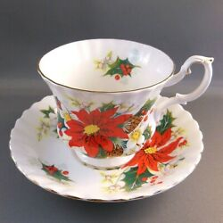 Royal Albert China Christmas Yuletide Poinsettia Footed Cup Saucer Cottagecore