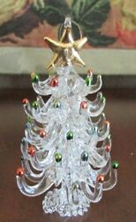 VTG Decorated TREE Spun Glass Ornament Clear Crystal Christmas Tree w Star 4quot;