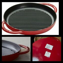 Staub Cast Iron Pure Grill 10-inch Red Enameled Cooking Pan All Stoves New