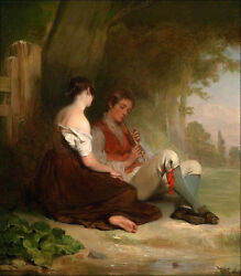 Oil Painting Haynes King - Young Boy Playing Flute With His Girlfriend Canvas