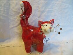 'pepita' Red And Gold Cat Original Whimsiclay By Amy Lacombe, + Free Gift For You