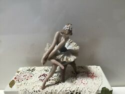 Antique Beautiful Lladro Young Ballerina Glazed Figurine Stretching On A Stool