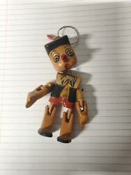 Vintage Hand Made Disney Pinocchio Wooden Marionette Key Chain - Wow