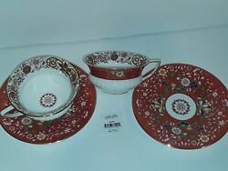 Wedgwood Crimson Orient 2 Tea Cups And Saucers New