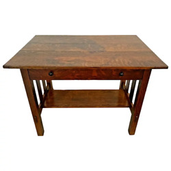Antique Stickley Brothers Mission Arts And Crafts Desk Library Table Drawer