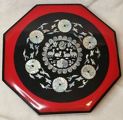 Vtg Black Lacquer Jewelry Box Japanese Octagon Sectional Abalone Inlay Birds Lrg