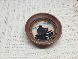 Vintage Red Clay Bowl 5-3/4 Hand Painted Signed Sail Boat