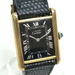 Vintage Must Tank Womenand039s Wristwatch Sv925/leather Belt Gold/blackdial