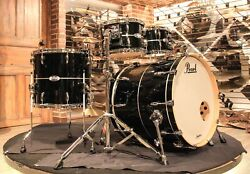 Pearl Masters Complete 4-pcs Piano Black With Silver Stripe Drum Set - New