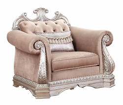 Acme Traditional Northville Chair In Velvet And Antique Champagne Finish 56932