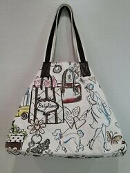 Brighton Canvas Tote Hobo RETIRED Poodle Dog City Shopping Scene Taxi Travel $17.99