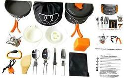 17 Pieces Camping Cookware Mess Kit Backpacking Gear and Hiking Outdoors Bug $43.23
