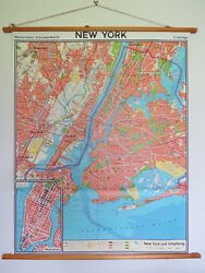 Vintage Roll Down Pull Down School Wall City Map Of New York Westermann