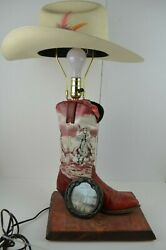 Vintage Cowboy Boot Lamp Hat Shade Western Décor Horse Horseshoe Country Cowgirl