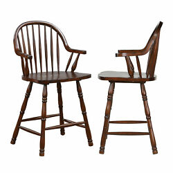 Sunset Trading Set Of 2 Counter Height Windsor Arm Stool Dlu-adw-b3024a-ct-2