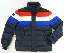 NEW SAM. NAVY BLUE RED WHITE STRIPED QUILTED GOOSE DOWN PUFFER JACKET SIZE L $250.00