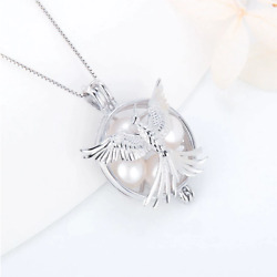 925 Sterling Silver US Air Force Phoenix Pearl Cage Pendant Necklace Included