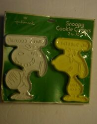 Vintage, Pair Of Hallmark Snoopy Cookie Cutters, White/yellow 4.50 High New