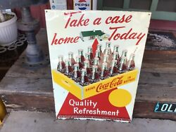 Vintage Scarcetake A Case Home Today Red Carpet Coca Cola 1947 Single Sided Sign