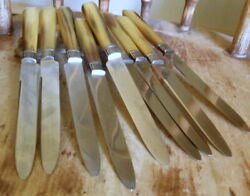 Antique Parisian Horn Stainless Steel Handle Knives A Land039eperon Dand039or - 8 Pieces