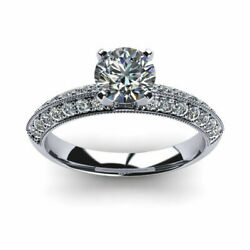 Round Cut 1.00 Ct Real Diamond Engagement Ring 14k White Gold Size K L M