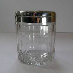 Art Deco Cut Glass And Sterling Silver Biscuit Box / Ice Bucket - 1927