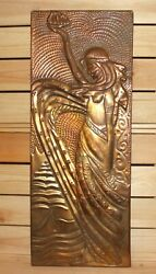 Vintage Wall Hanging Metal Plaque Woman Carry Fire