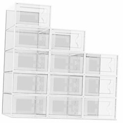 12 Pack Shoe Storage Box Plastic Stackable Shoe Organizer For X-large Clear