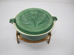 Vtg Mcm Es Us Ernest Sohn Red Wing Butter Mold Green Casserole Dish Wicker Stand