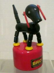 Vintage Brio Sweden Wood Toy Black Dog Red Ears Spring Push Button Collapse