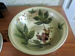 Andrea By Sadek 10 Porcelain Round Bowl With Grapes Leaves And Vines Ex Cond