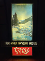 Vintage Coors Rocky Mountains Scrolling Text Beer Sign Lighted Century Usa Rare
