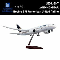 1/130 United Airlines Boeing B787 Replica Airplane Plane Model Toy W/ Led Lights