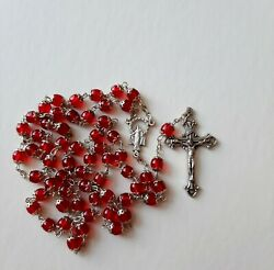 Italy Double Capped Filigree Red Glass Rosary Beads 19.5 Long. 7 Mm