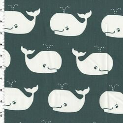 Gunmetal Gray White Premier Whale Printed Twill Decor Fabric Fabric By The Yard
