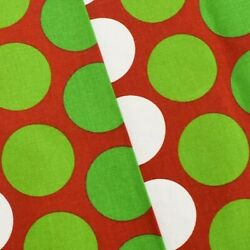Red Green White Premier Dot Printed Canvas Decorating Fabric Fabric By The Yard