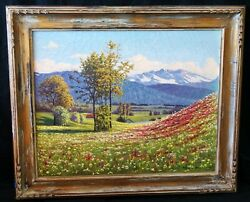 1949 Denmark Norway Oil Painting Mountains And Flowers By Paul Gyldenkrone Chh
