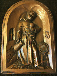 Vintage Monk With Wine Monastery Plaster Wall Plaque Art Bavaria Germany Antique
