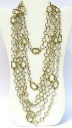 Vintage 1981 Faux Pearl Clear Crystal Gilt Metal Set Of 3 Long Necklaces