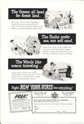 New York 1948 Vintage Ad New York State Has Everything Fishing Sun Sand