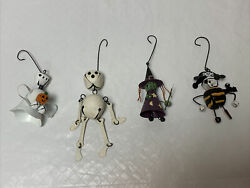Lot Of Four Halloween Jingle Bell-metal Ornaments Ghost Skelton Witch And Pirate