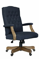 Boss Commercial Grade Linen Executive Chair In Navy Finish B905dw-nv
