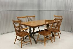 Ethan Allen Country Colors Maple Dining Table W/ 6 Fan Back Chairs 14-6410