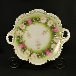 Rc Rosenthal Plate Hand Painted White Pink Asters W/gold Monbijou Mold 1898-1906