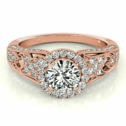 Round Cut 1.10 Ct Real Diamond Engagement Ring For Women 14k Rose Gold Size N P