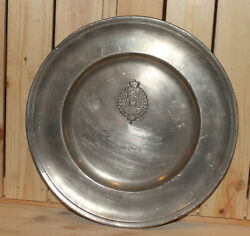 1975 Belgian Les Potstainiers Hutois Etain Pewter Wall Hanging Plate