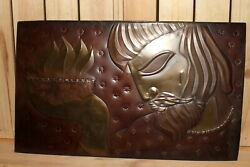 Vintage Abstract Hand Made Coper Wall Hanging Plaque Man Carry Fire