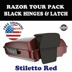 Stiletto Red Razor Tour Pack Black Hinges Latch For 97-20 Harley Street Touring