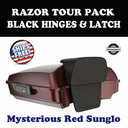 Mysterious Red Sunglo Razor Tour Pack Black Hinge Latch For 97-20 Harley Touring