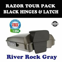 River Rock Gray Razor Tour Pack Black Hinges Latch For 97-20 Harley Road Touring